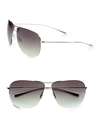 9344a48109 Oliver Peoples Welles Metal Aviator Sunglasses Gold on PopScreen