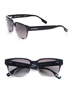 BOSS Black - Square Wayfarer Sunglasses/Black and Gray