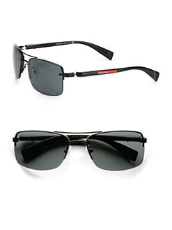 Prada - Rectangular Metal Sunglasses