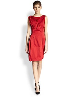 Nina Ricci - Asymmetrical Draped & Pleated Satin Dress
