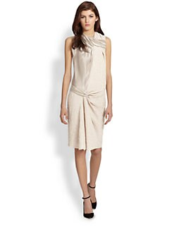 Nina Ricci - Twisted Satin & Bouclé Paneled Dress
