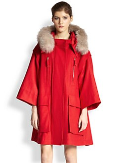 Nina Ricci - Fox Fur-Trimmed Wool A-Line Coat