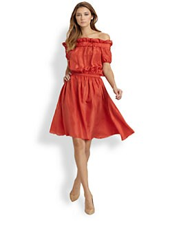Nina Ricci - Off-The-Shoulder Silk Dress