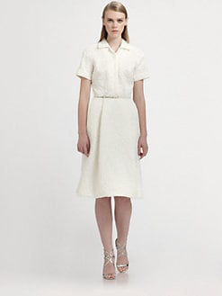 Rochas - Belted Jacquard Dress