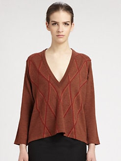 Maison Martin Margiela - Leather-Trimmed Argyle Sweater