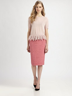 Nina Ricci - Lace-Trimmed Silk Top