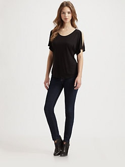 Saks Fifth Avenue Collection - Cutout-Shoulder Dolman-Sleeved Jersey Top