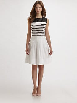 Saks Fifth Avenue Collection - Striped Leather Yoke Tank