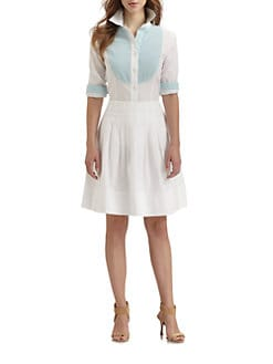 Saks Fifth Avenue Collection - Seersucker Bib Poplin Shirt