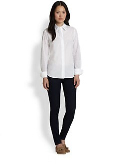Saks Fifth Avenue Collection - Cotton Eyelet-Sleeve Shirt