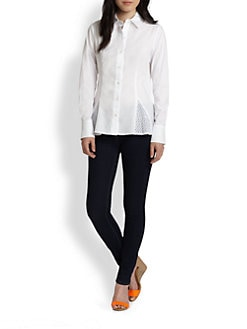 Saks Fifth Avenue Collection - Cotton Eyelet-Trim Shirt