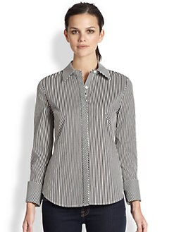 Saks Fifth Avenue Collection - Diagonal-Placket Striped Blouse