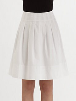 Saks Fifth Avenue Collection - Pleated Stretch Cotton Skirt