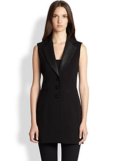 Saks Fifth Avenue Collection - Faux-Leather-Detail Vest