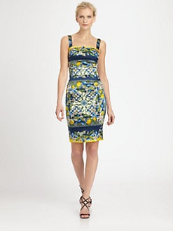 Dolce & Gabbana - Silk Satin Ruched Printed Dress