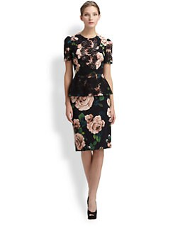 Dolce & Gabbana - Lace-Trimmed Peplum Top