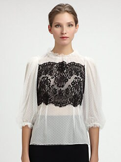 Dolce & Gabbana - Lace-Trimmed Swiss Dot Blouse