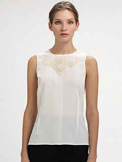 Dolce & Gabbana - Sleeveless Lace-Trimmed Blouse