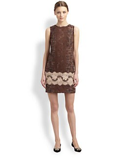 Dolce & Gabbana - Lace-Trimmed Tweed Dress