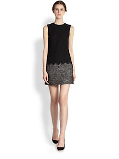 Dolce & Gabbana - Mixed Media Lace & Tweed Dress