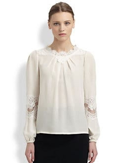 Dolce & Gabbana - Lace Detail Silk Blouse