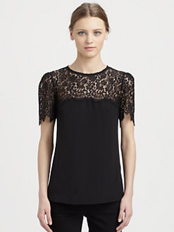 Dolce & Gabbana - Lace-Trimmed Silk Top