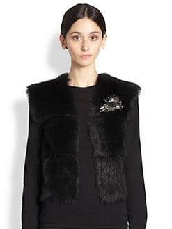 Ralph Lauren Collection - Brooch-Detail Shearling Damien Vest