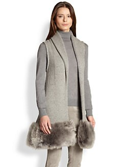 Ralph Lauren Collection - Shearling-Trim Sleeveless Cardigan