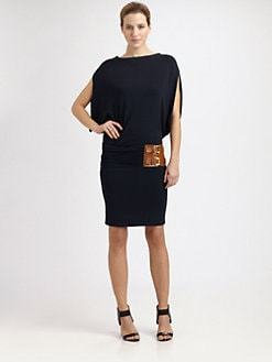 Michael Kors - Belted Cape-Sleeve Dress