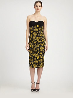 Michael Kors - Strapless Leaf-Print Dress