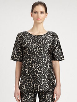 Michael Kors - Wool & Silk Shantung Lace-Print Top