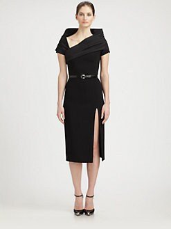 Michael Kors - Asymmetric Collared Stretch Wool Dress