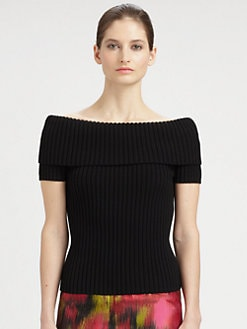 Michael Kors - Ballet-Neck Ribbed Merino Wool Sweater