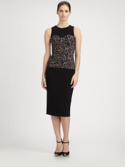 Michael Kors - Lace-Bodice Crepe Dress