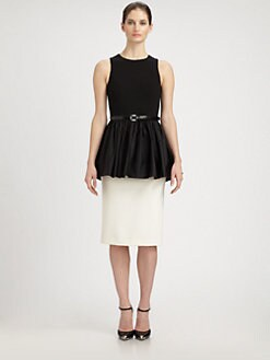 Michael Kors - Satin-Peplum Crepe Dress