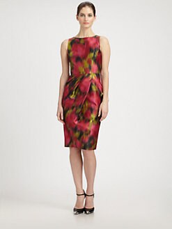 Michael Kors - Zinnia Printed Wool & Silk Shantung Dress