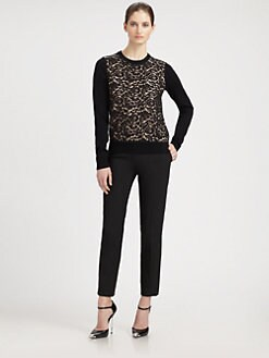 Michael Kors - Lace-Front Cashmere Sweater
