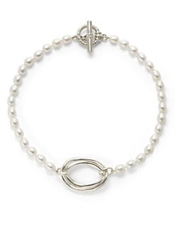 Slane - 8MM White Oval Pearl Sterling Silver Layered Link Necklace