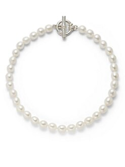 Slane - 10MM & 11MM White Oval Pearl Sterling Silver Strand Necklace