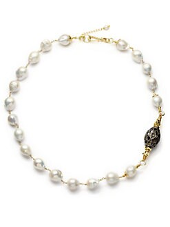 Aviva Carmy - 13MM-17MM White Baroque Freshwater Pearl & Diamond Necklace