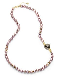 Aviva Carmy - 10MM-11MM Pink Freshwater Pearls & Diamond-Accented Heart Necklace