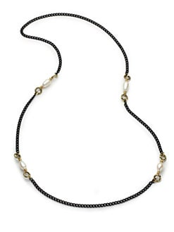 Aviva Carmy - White Baroque Freshwater Pearl & Black Chain Necklace