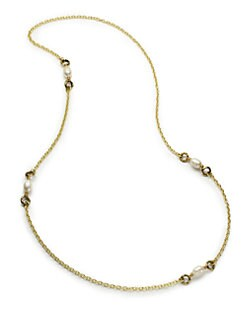Aviva Carmy - White Baroque Freshwater Pearl & Open Circle Necklace