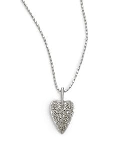 Sydney Evan - Diamond Oblong Heart Pendant Necklace/White Gold