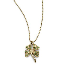 Sydney Evan - Green Garnet Shamrock Pendant Necklace