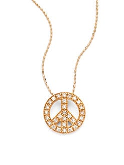 Sydney Evan - Diamond Peace Sign Pendant Necklace/Rose Gold