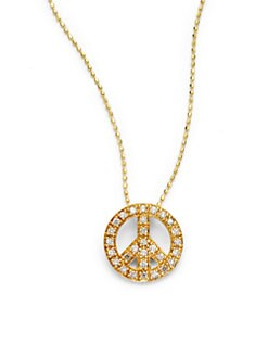 Sydney Evan - Diamond Peace Sign Pendant Necklace/Gold