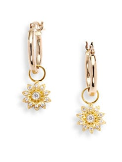 KC Designs - Diamond Flower Charm Hoop Earrings