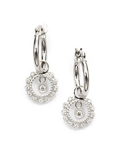 KC Designs - Diamond Circle Charm Hoop Earrings