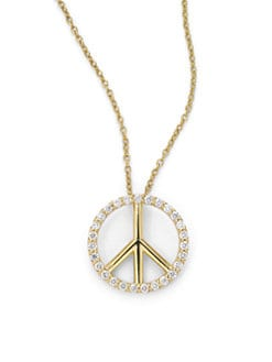 KC Designs - Diamond Large Peace Sign Pendant Necklace